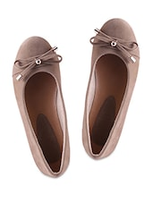 Lace Bow Embellished Brown Ballerinas - Fleetz