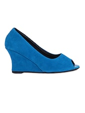 Plain Solid Blue Peep Toe Wedges - Fleetz