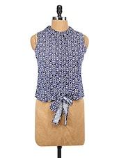 Sleeveless Printed Tie Up Shirt - Lemon Chillo