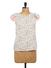 Printed Baby Pink Cao Sleeve Top - Lemon Chillo