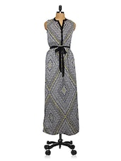 Geometric Print Side Slits Maxi Dress - Lemon Chillo
