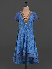 Blue Short Sleeves Cotton Kurta - Myra