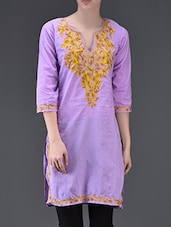 Yellow Leaf Embroidered Purple Cotton Kurti - Lycans