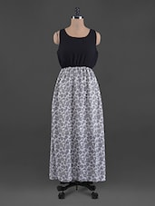 Floral Print Round Neck Georgette Maxi Dress - G&M Collections