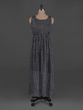 Polka Dot Printed Chiffon Maxi Dress - G&M Collections