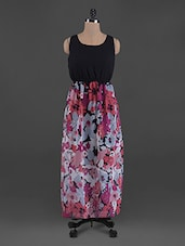 Overlapping Floral Print Georgette Maxi Dress - G&M Collections