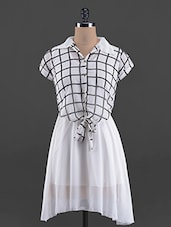 Checks Printed Short Sleeve Georgette Dress - G&M Collections
