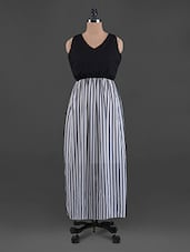 Striped V Neck Georgette Maxi Dress - G&M Collections