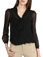 Solid Black Sheer Front Knot Top - La Zoire
