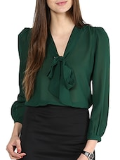 Solid Bottle Green Sheer Front Knot Top -  online shopping for Tops