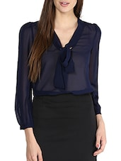 Solid Navy Blue Sheer Front Knot Top - La Zoire