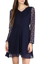 Navy Blue Lace Sleeves A-Line Georgette Dress - La Zoire