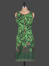 Printed Sleeveless Round Neck Cotton Kurti - Pannkh