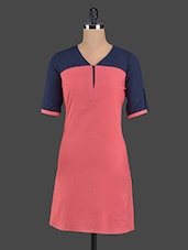 Color Block Button-up Sleeves Cotton Kurti - Pannkh