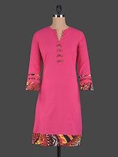 Pink Printed Border Cotton Kurti - Pannkh