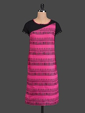 Pink Printed Short Sleeves Cotton Kurta - Pannkh