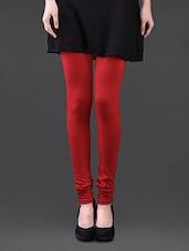Red Cotton Lycra Leggings - Pannkh