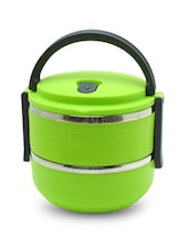 Green Two Layer Plastic Portable Lunch Box - By
