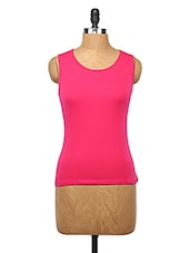 Round Neck Pink Cotton Tank Top - Happy Hippie