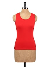 Round Neck Red Cotton Tank Top - Happy Hippie