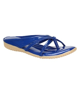 blue leatherette sandals