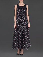 Black Sleeveless Printed Maxi Dress - Eyelet