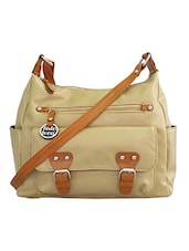 beige faux leather satchel -  online shopping for Satchels