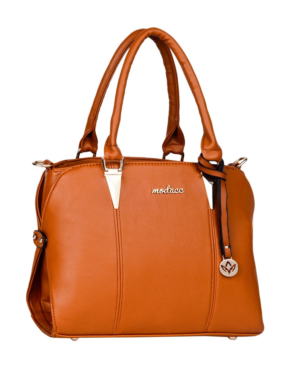 Plain Solid Brown Leatherette Handbag - Mod'acc