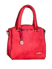 Plain Solid Red Leatherette Handbag - Mod'acc