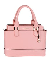 Solid Pink Dual Compartment Leatherette Handbag - Mod'acc
