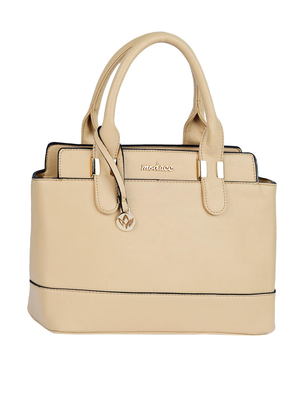 Dual Compartment Solid Leatherette Handbag - Mod'acc