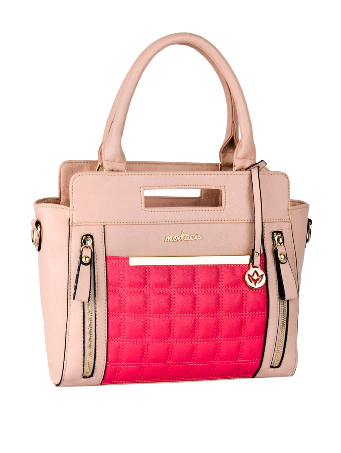 Quilted Front Patch Leatherette Handbag - Mod'acc