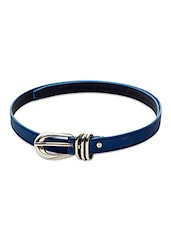 Buckle Closure Blue Leatherette Belt - SkyWays
