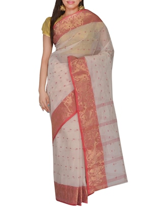 white, red cotton saree