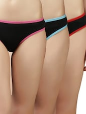 solid black red piping cotton panties (pack of 3) -  online shopping for panty