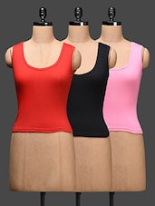 Plain Solid Cotton Tank Tops (pack Of 3) - LEADING LADY