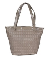 Geometric Textured Solid Beige Tote Bag - Coash