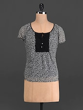Monochrome Printed Poly Chiffon Top - French Creations