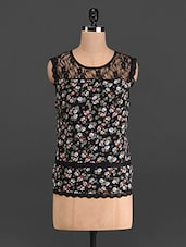 Black Floral Print Top With Lace Yoke - French Creations