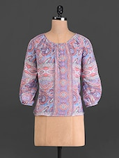 Multicoloured Printed Poly Georgette Top - French Creations