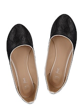 Snake Skin Textured Black Ballerinas - My Foot