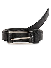 Black Textured Leatherette Belt With Metal Buckle - Scarleti