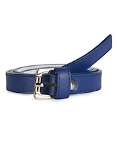 Solid Blue Leatherette Belt With Metal Buckle - Scarleti