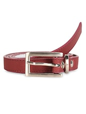 Textured Red Leatherette Belt - Scarleti