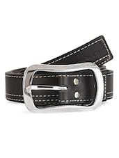 Decorative White Stitch Black Leatherette Belt - Scarleti