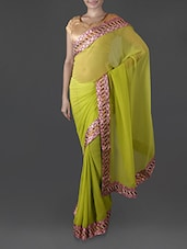 Green Georgette Saree With Embroidered Border - Try N Get