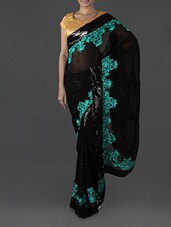 Black Embroidered Georgette Saree - Try N Get