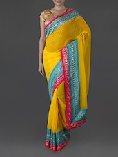 Yellow Georgette Saree With Embroidered Border - Try N Get