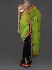 Green And Navy Blue Georgette Saree - Try N Get