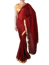 Maroon Chiffon Saree With Gold Border - Try N Get